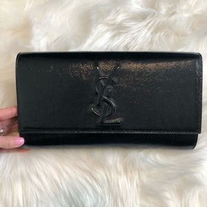 YSL Belle Du Jour Black Patent Leather Clutch